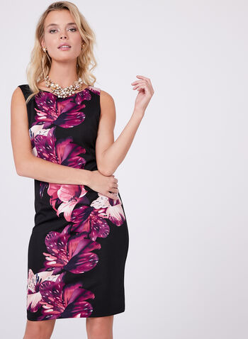 Floral Print Scuba Dress , Black, hi-res