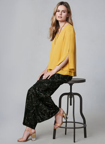 Cashmere Print Palazzo Pants, Black,  wide-leg pants, paisely print pants, scroll print pants