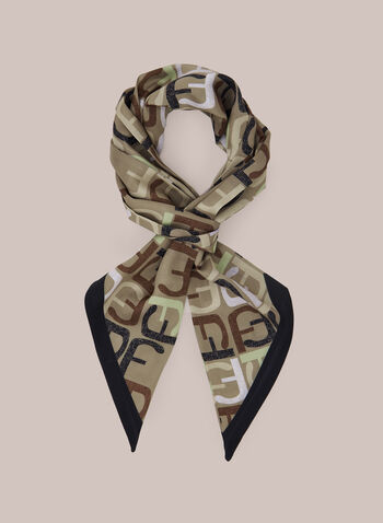 F Print Lightweight Scarf, Brown,  scarf, lightweight, text print, fall winter 2020