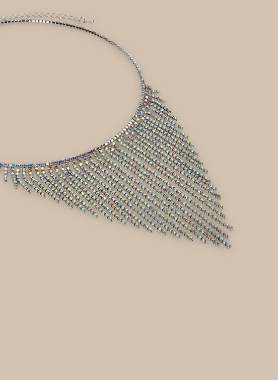 Crystal Cascade Necklace, Silver