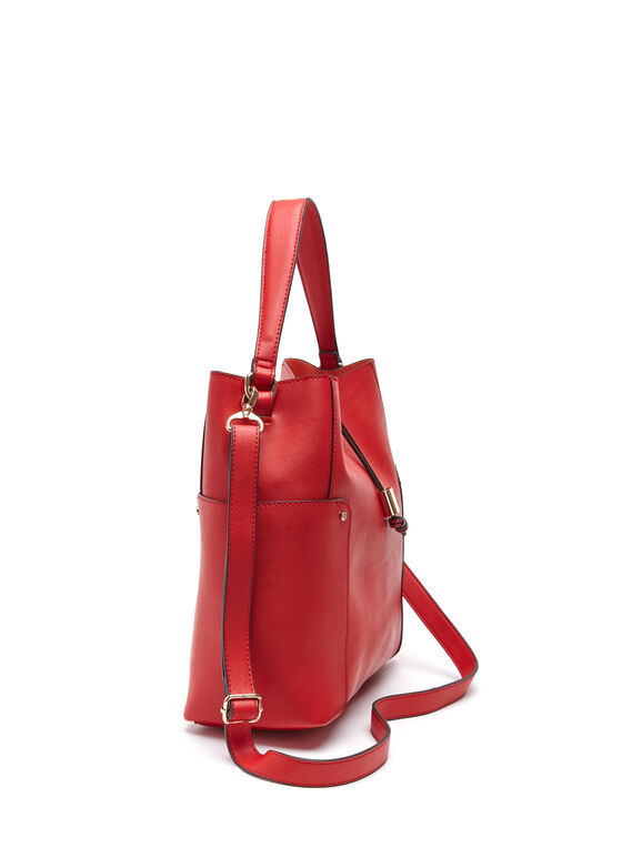 Faux Leather Bucket Bag, Orange, hi-res