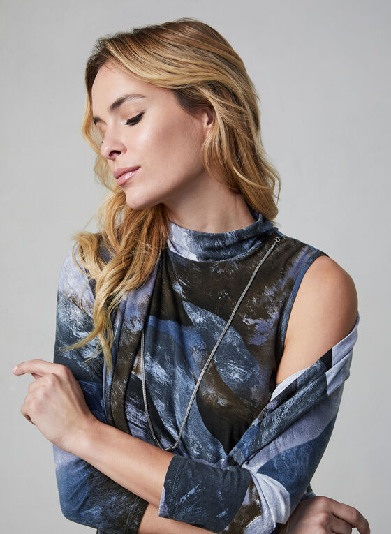 Frank Lyman - Sleeveless Marble Print Top, Grey, hi-res
