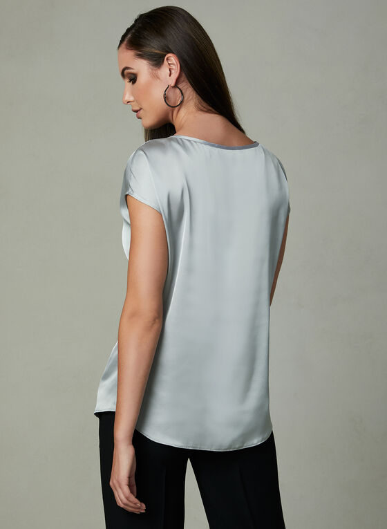 Stone Detail Satin Blouse, Silver, hi-res