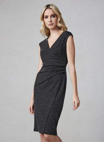 Maggy London - V-Neck Glitter Dress, Black,  Maggy London, glitter, midi, extended shoulders, V-neck, fall 2019, winter 2019