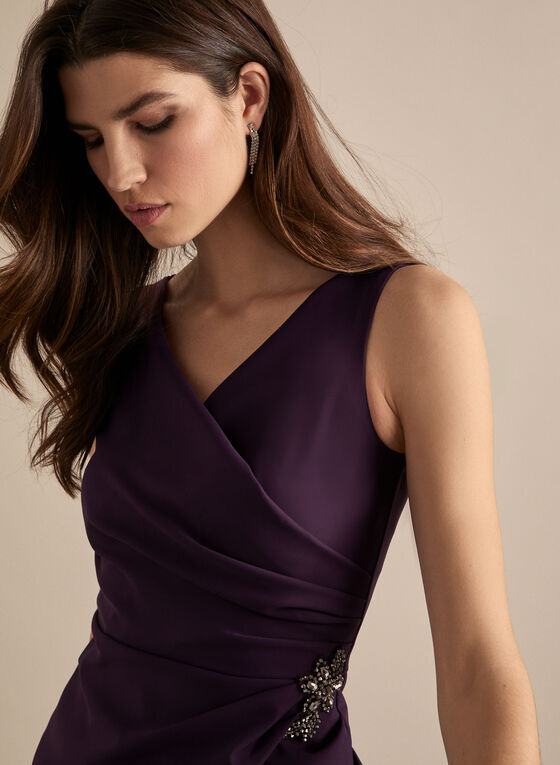 Alex Evenings - Sleeveless Faux Wrap Cocktail Dress, Purple
