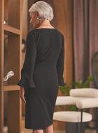 Ruffle Sleeve Crepe Dress, Black