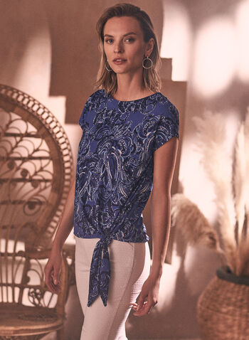 Paisley Print Blouse, Blue,  spring summer 2021, tops, tees, t shirt, t-shirt, paisley pattern, made in Canada, scoop neck, round neck, knot detail