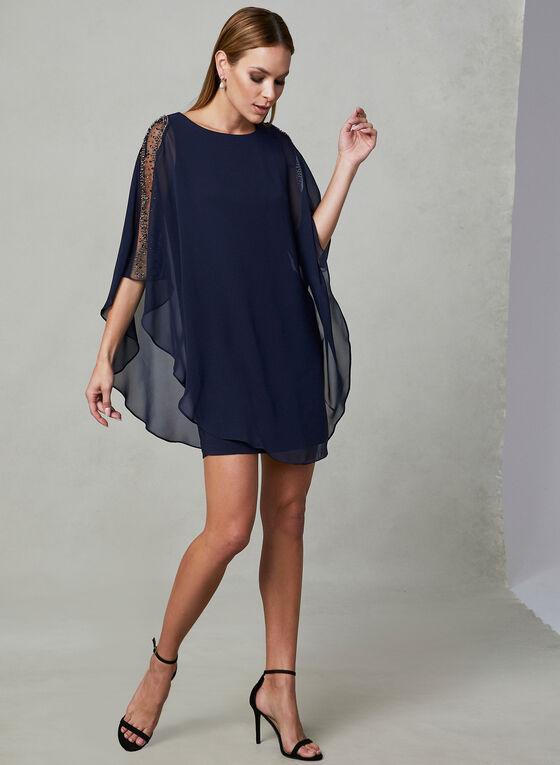 BA Nites - Embellished Chiffon Dress, Blue