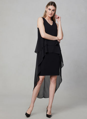 Frank Lyman - Tiered Chiffon Dress, Black, hi-res