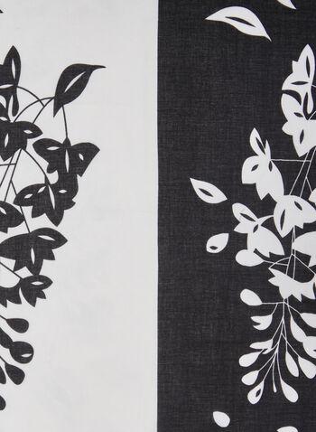 Leaf Print 2-Tone Scarf, Black,  scarf, lightweight, contrast, 2 tone, leaf print, spring summer 2021
