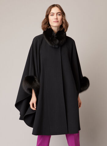 Mallia - Wool Blend & Fur Cape, Black,  fall winter 2020, fur, fox fur, canada, wool, cashmere, coat