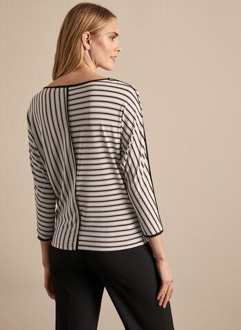 Striped Print Dolman Sleeve Top, Black,  top, blouse, long sleeves, jersey, striped, boat neck, dolman sleeves, 3/4 sleeves, contrast, spring summer 2020