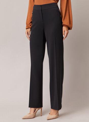 Pantalon Soho à jambe large, Noir,  pantalon, soho, large, boutons, pinces, automne hiver 2020