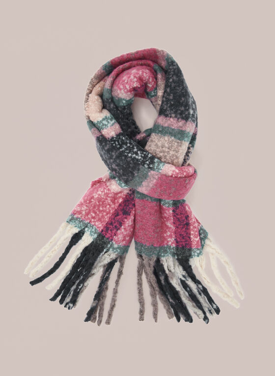 Plaid Fringed Scarf, Pink