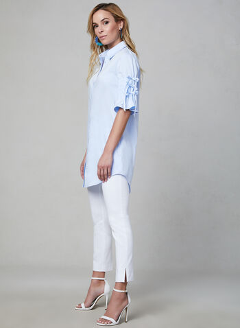 Chambray Cotton Tunic, Blue, hi-res,  cotton, spring summer 2019, chambray, pointed collar, button down, bell sleeves