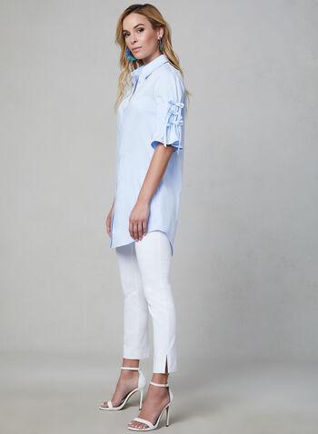 Tunique chemisier en coton, Bleu, hi-res,  tunique, chemisier, manches froncées, coton, printemps été 2019