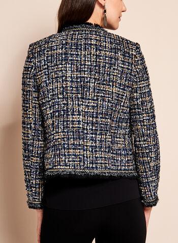 Veste ouverte en tweed à fils fantaisie, Bleu, hi-res