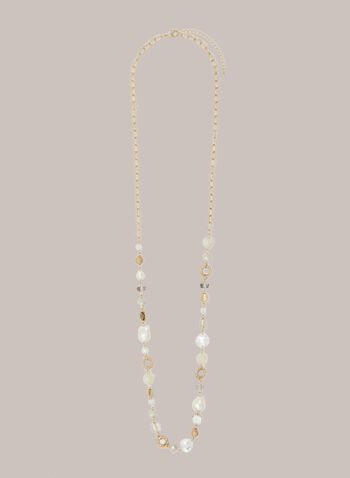 Long Pearl & Stone Necklace, Off White,  fall winter 2020, necklace, jewelry, jewellery, accessories, pearl, stone