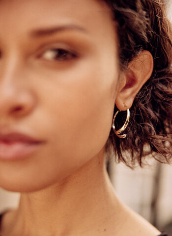 Half-Moon Earrings, Yellow,  fall winter 2021, jewelry, jewellery, earrings, ear rings, half moon, two-tone,