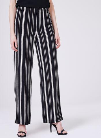 Pantalon pull-on à jambe large et rayures, Noir, hi-res
