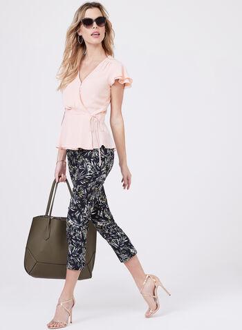 Short Sleeve Wrap Around Blouse, Pink, hi-res