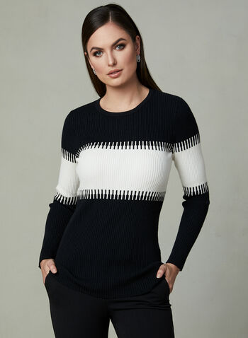 Colour Block Sweater, Black, hi-res