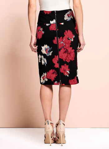 Floral Zipper Trim Pencil Skirt, Black, hi-res
