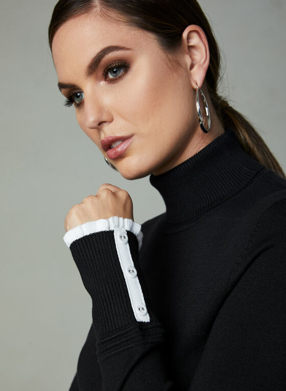 Contrast Trim Knit Turtleneck, Black, hi-res