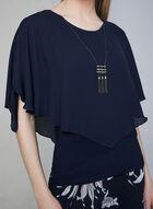 Frank Lyman - Poncho Blouse & Necklace, Blue, hi-res