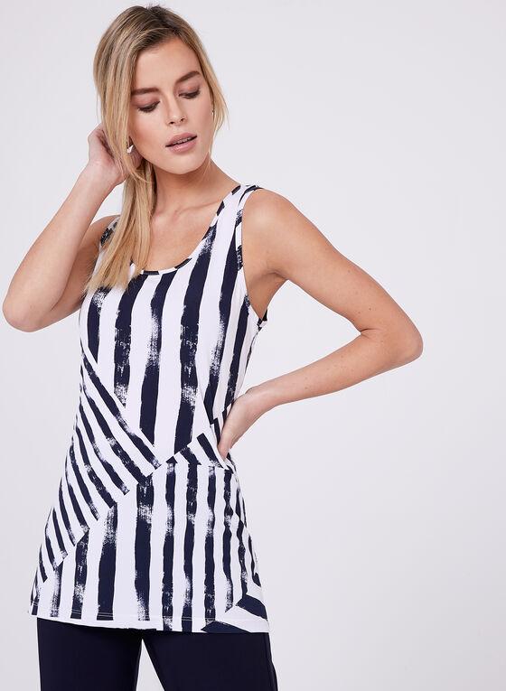 Compli K - Stripe Print Sleeveless Top , Blue, hi-res