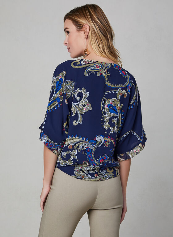 Paisley Print Kimono Blouse, Blue, hi-res