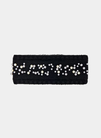 Pearl Detail Knit Headband, Black, hi-res