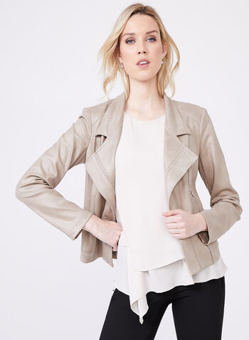 Vex - Faux Leather Zipper Trim Jacket, Grey, hi-res