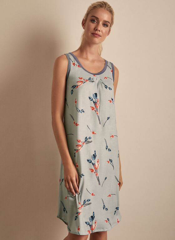 Claudel Lingerie - Sleeveless Floral Print Nightgown, Grey