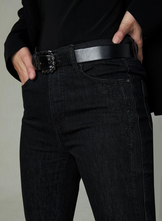 Simon Chang - Jean à jambe droite avec broderies, Noir, hi-res