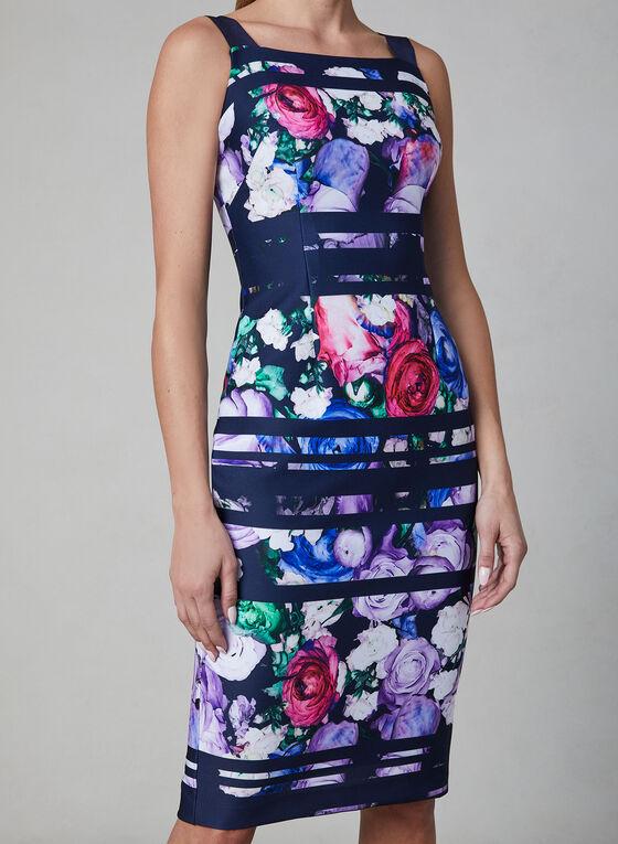 Adrianna Papell - Floral Print Scuba Dress, Blue, hi-res