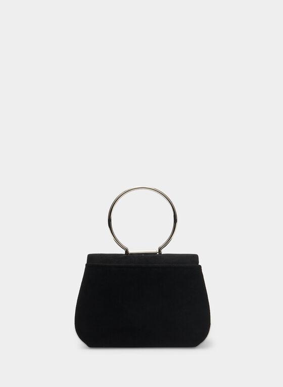 Pochette en velours à anse anneau, Noir