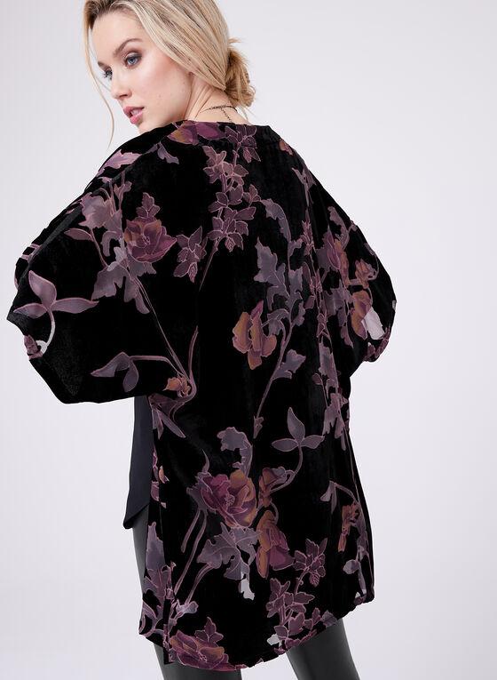 Cardigan kimono à fleurs en velours, Noir, hi-res