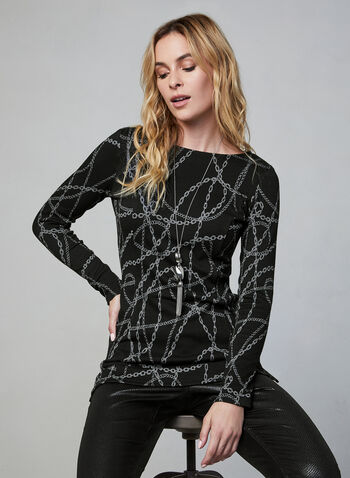 Chain Print Tunic, Black,  Canada, tunic, chain print, long sleeves, fall 2019, winter 2019