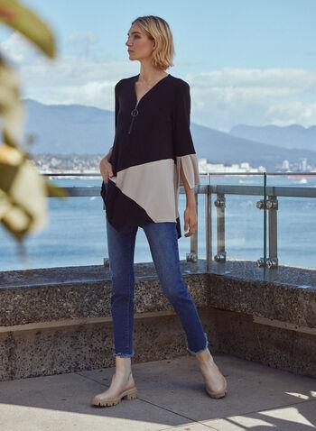 3/4 Sleeve Colour Block Tunic, Black,  fall 2021, made in canada, tunic, sweater, shirt, blouse, top, 3/4 sleeves, slit sleeves, colour block, asymmetrical, asymmetrical hem, v neckline, o ring, zipper, o zipper, long