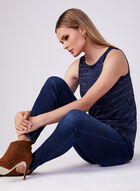 Silver Dot Sleeveless Top, Blue, hi-res
