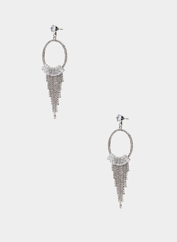 Crystal Dangle Earrings , Silver, hi-res,  dangle bottom, crystal circle, fall 2019