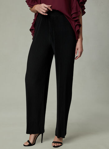 Pleated Wide Leg Pants, Black, hi-res