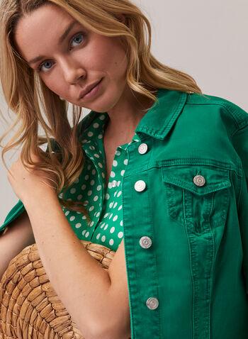 Veste en jean coloré, Vert,  printemps été 2020, veste, jean, coloré, couleur, manches longues, boutons