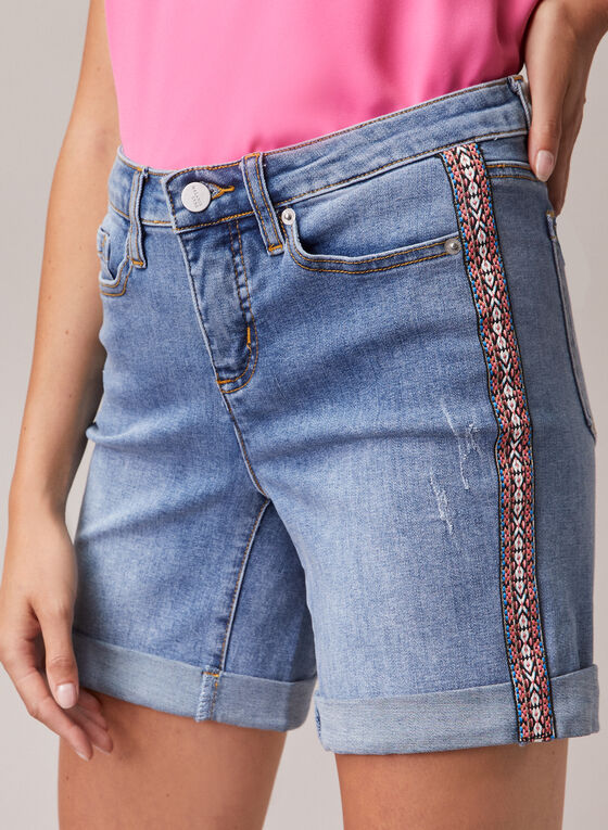 Embroidered Detail Denim Shorts, Blue