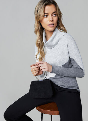 Alison Sheri - Colour Block Sweater, Grey, hi-res,  Alison Sheri, sweater, knit, cowl neck, long sleeves, colour block, fall 2019, winter 2019
