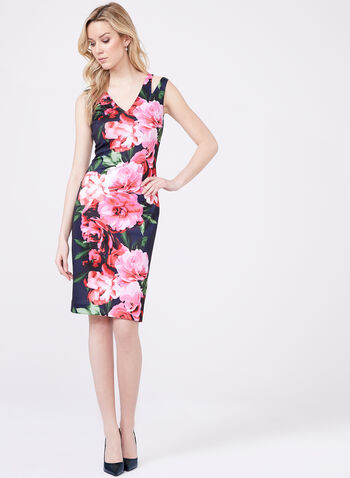 Vince Camuto - Floral Print Scuba Dress, Blue, hi-res