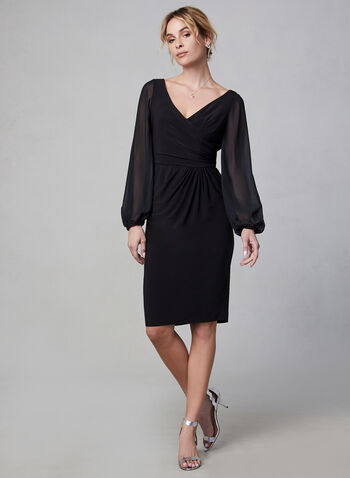 Adrianna Papell - Sheer Sleeve Dress, Black, hi-res,  short dress, sheer, long sleeves, crossover, evening dress, cocktail dress, slim, slim dress, pleats, v-neck, fall 2019, winter 2019