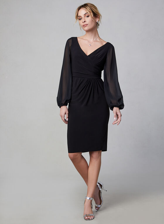 Adrianna Papell - Sheer Sleeve Dress, Black