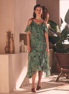 Floral Print Cold Shoulder Dress, Green